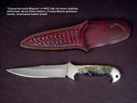 """Cygnus-Horrocks Magnum"" custom knife, obverse side view in 440C high chromium stainless steel blade, nickel silver bolsters, Picasso Marble gemstone handle, hand-tooled and stamped leather sheath"