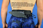 DBAM (Dive Belt Accessory Mount) sheathed view. Knife is clamped rigidly to the padded belt and does not move