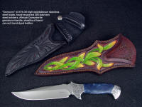 """Domovoi"", obverse side view in ATS-34 high molybdenum stainless steel blade, hand-engraved 304 stainless steeel bolsters, African dumortierite gemstone handle, hand-carved, tooled, hand-dyed leather sheath"