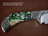 """Bootes ST"" in hand-engraved 440C high chromium stainless steel blade, hand-engraved 304 stainless steel bolsters, Green Orbicular Jasper gemstone handle, hand-carved leather sheath"