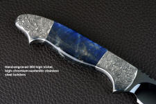 """Carina"" reverse side view in mirror polished and hot-blued O1 high carbon tungsten-vanadium tool steel blade, hand-engraved 304 stainless steel bolsters, Labradorite gemstone handle, hand-carved, hand-dyed leather sheath"