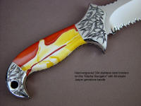 """Macha Navigator"" in ATS-34 high molybdenum stainless steel blade, hand-engraved 304 stainless steel bolsters, Mookaite Jasper gemstone handle, Lizard skin inlaid in hand-carved leather sheath"