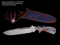"Example of weight reduction, artistic design in drop point knife blade milling: ""Mountain Creature"""