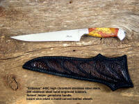 "Fine collector's grade or working knife: ""Eridanus"" in 440c stainless steel blade, hand-engraved 304 stainless steel bolsters, Sunset Jasper gemstone handle, lizard skin inlaid in hand-carved leather sheath"