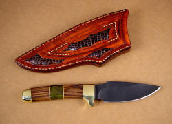 """Alamogordo"" utility, collector's fine knife, reverse side view. Note lizard skin inlays on rear of sheath and belt loop."