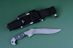 """Alastor"" Tactical Combat, counterterrorism knife, reverse side view. Sheath back showing Ultimate belt loop extender with sharpener pocket secured with stainless steel straps and hardware"