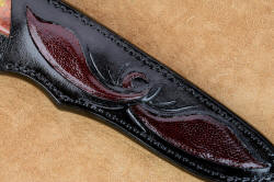 """Aldebaran"" sheath front panel inlay detail. Hand-carved pockets are inlaid with ostrich skin, design is the same as on the bolster engraving."