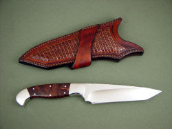 """Alegre EL"" reverse side view. Note full panel lizard skin inlays on back of sheath, tight and close hand stitching pattern"