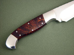 """Alegre EL"" reverse side handle detail. Honduran Rosewood burl is tough and strong, rarely seen"