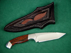 """Alegre"" reverse side detail. Note rayskin inlays and tooling on back of sheath"