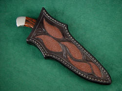 """Alegre"" sheathed view. Note deep protective sheath, rear quillon for easy knife draw"