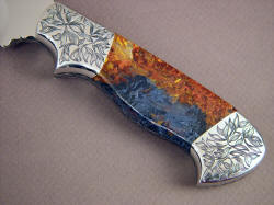"""Altair"" obverse side handle detail. Pattern in engraving matches intricate lines of gemstone handle scales."