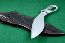 """Ananke"" custom fine khukri knife, point detail. Point is aggressive and strong with a substantial swage reducing point profile without sacrificing strength"