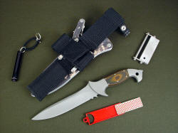 """Anzu"" with complete tactical, survival accessory package including diamond pad sharpener, flashlight, magnesium firesteel sharpener, and waterproof belt loop extender"