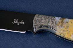 """Aquila"" obverse side front bolster engraving detail. All components of this knife flow seamlessly together."