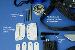 """Arctica"" individual item details, descriptions: Assembly tools, Horizontal belt loop plates, stainless steel mount hardware, flashlight clip"