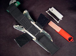 """Arcturus"" with accessories. Sheath belt loop extender is multiple zigzag stitched in heavy nylon, tough and stout, accessories are sharpener and fire starter with safety guard"