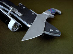 """Arcturus"" point detail. Aggressive tanto point with top swage has superior strength in high molybdenum stainless steel"