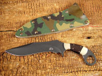 """Argiope"" in bead blasted O-1 high carbon tungsten-vanadium tool steel blade, nickel silver bolsters, African Blackwood handle, forest camo kydex, aluminum, and blued steel sheath"