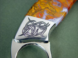 """Argiope"" reverse side rear bolster hand-engraving detail"