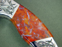 """Argiope"" obverse side gemstone handle detail. Polvadera Jasper has chaldedony, agate, and jasper in translucent and transparent types"