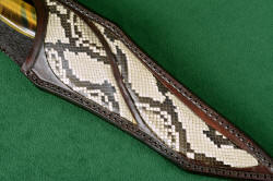 """Argyre"" sheath front detail. Python skin is inlaid in leather, bonded, sealed with acrylic, waxed and sealed"