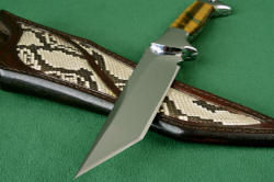 """Argyre"" point detail. Very aggressive tanto point is smooth, razor keen and beautiful in mirror polished hardened stainless steel"