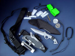 """Ari B' Lilah"" counterterrorism combat knife, Primary Edged Weapon, with accessories to cover every wear and use condition possible."