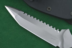 """Ari B' Lilah"" Custom Counterterrorism Tactical Combat Knife, obverse side blade detail. Razor keen single bevel blade in ultra-hard RC61 ATS-34 stainless steel"