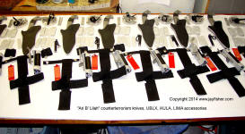 Counterterrorism knives, Ultimate belt loop extenders, HULA flashlight holders, sharpeners, LIMA accessory lamp mounts