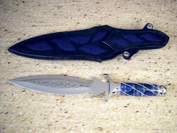 """Amethystine"" reverse side view. Note multiple inlays of blue stingray skin on sheath back and belt loop"