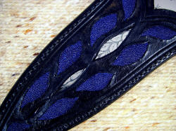"""Amethystinel"" dagger sheath window and inlay details. Leaf pattern matches engraving on blade in window of sheath face"