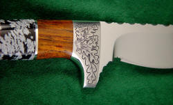 """Aspen"" fine custom knife: guard engraving detail in 304 stainless steel"