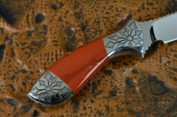 """Azuma"" fine custom knife reverse side handle detail. This is a nearly4 power enlargement; note the fit, finish, and form of the handle components"