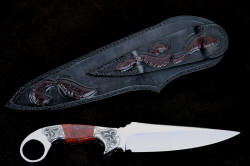 """Bulldog"" reverse side view. Note extensive sheath carving and inlays in sheath back and belt loop, matching pattern of bolster engraving"
