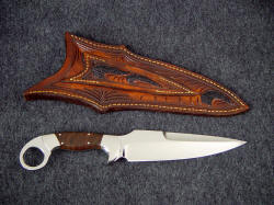 """Bulldog"" tactical knife, reverse side view. Note inlays and carving on sheath back"
