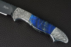 """Carina"" obverse side gemstone handle detail. Engraving is small, detailed and intricate in this four power enlargement"