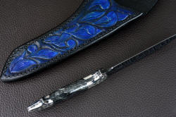 """Carina"" inside handle tang view. All surfaces rounded, contoured, polished and comfortable."