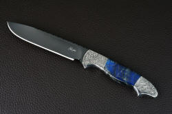 """Carina"" obverse side view in O1 hot-blued finish, hand-engraved stainless steel bolsters, labradorite gemstone handle"