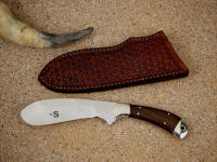 """Cattleman"" castrating knife in ATS-34 high molybdenum stainless steel blade, 304 stainless steel bolsters, Ziricote hardwood handle, hand-stamped basketweave leather sheath"
