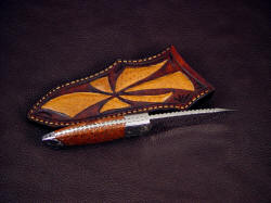 """Chama"" spine edgework, filework detail. Pattern is bold and distinctive in the fully tapered and stout knife tang"