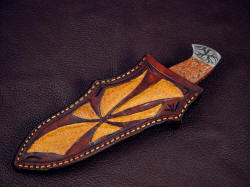 """Chama"" sheathed view. Inlays compliment the knife pattern and design, sheath is deep and protective"