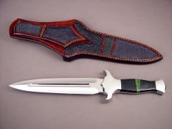 """Charax"" reverse side view. The sheath back has large panel inlays of stingray skin, in angles and arrangement that echoes the gemstone handle mosaic. Note twin belt loops on sheath."
