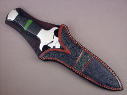 """Charax"" sheathed view. Sheath allows display of handle and bolster material, and matches handle mosaic in design shape and color"