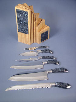 """Chef's Set"" knives and block. Wide assortment of knives can handle nearly every chef's task in the kitchen"