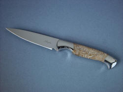 """Consus"" paring knife, obverse side view in CPM154CM powder metal technology tool steel, 304 stainless steel bolsters, Agatized petrified palm wood gemstone handle"