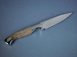 """Consus"" paring knife, reverse side view. Grind line is clean and elegant, point is thin and sharp, steel is premium and wear resistant and tough."