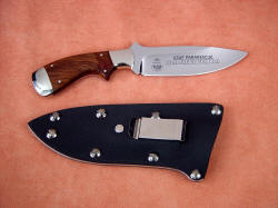 USAF Pararescue CSAR custom knife, reverse side view. This knife owner requested a nickel plated steel belt clip for the sheath. Note fine blade etching