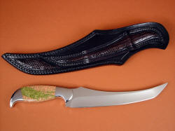 """Cybele"" fillet, carving, boning, chef's, collector's knife, reverse side view. Note lizard skin inlays on sheath back and belt loop"