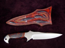 """Cygnus-Horrocks"" custom knife, reverse side view. Sheath belt loop is double row stitched for strength, sheath back and loop have ostrich leg skin inlays"